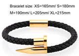 Braided men's bracelet in the shape of a nail
