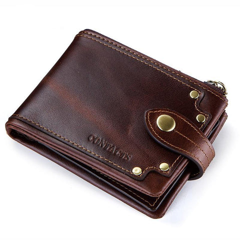 Short men's wallet with zipper
