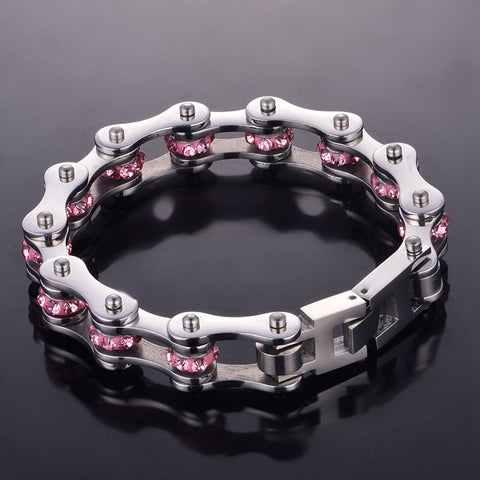 Bracelet in the form of a motorcycle chain, for women