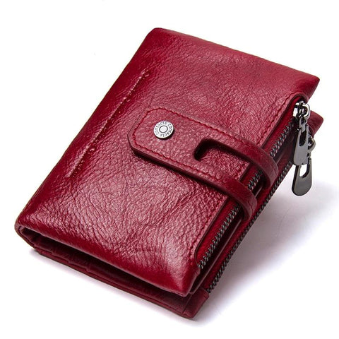 Fashionable short women's wallet made of genuine leather