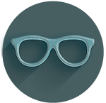 plain circle icon featuring eyeglasses