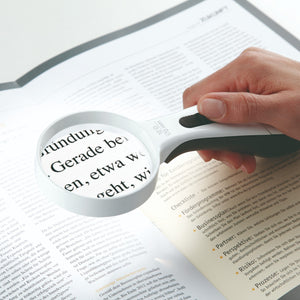 ERGO Lux magnifier with LED light on reading magnified image of book