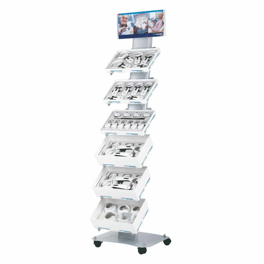 slimline product display stand shown with 6 trays