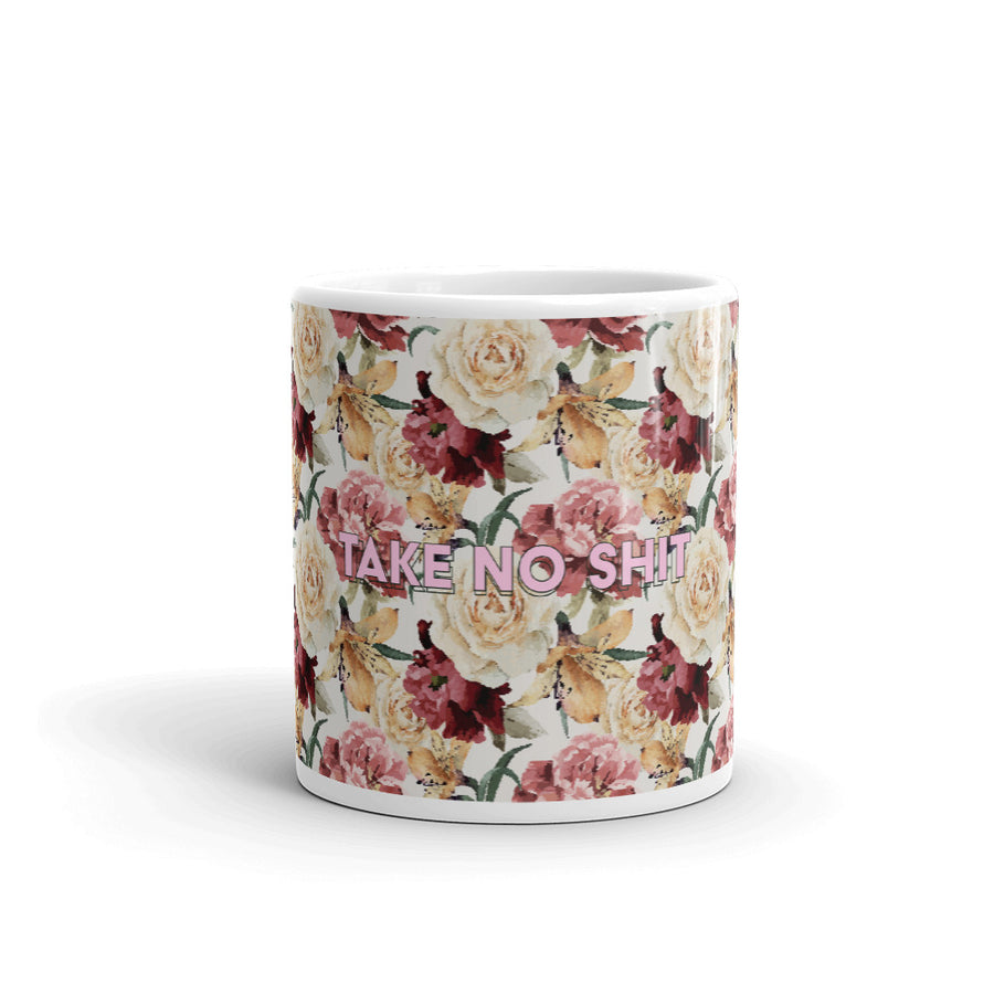 Take No Shit Floral Mug - Fortune Favors The Bold Co
