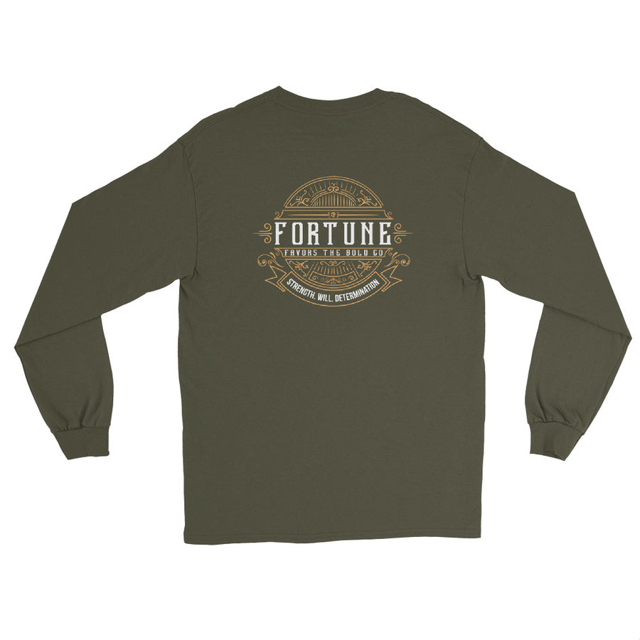 Unisex Retro Long Sleeve T-Shirt - Fortune Favors The Bold Co