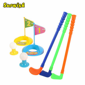 Set of Plastic 3 Golf Putter Club 2 Balls 2 Putting Cup 2 Flags 2 Tees Toy