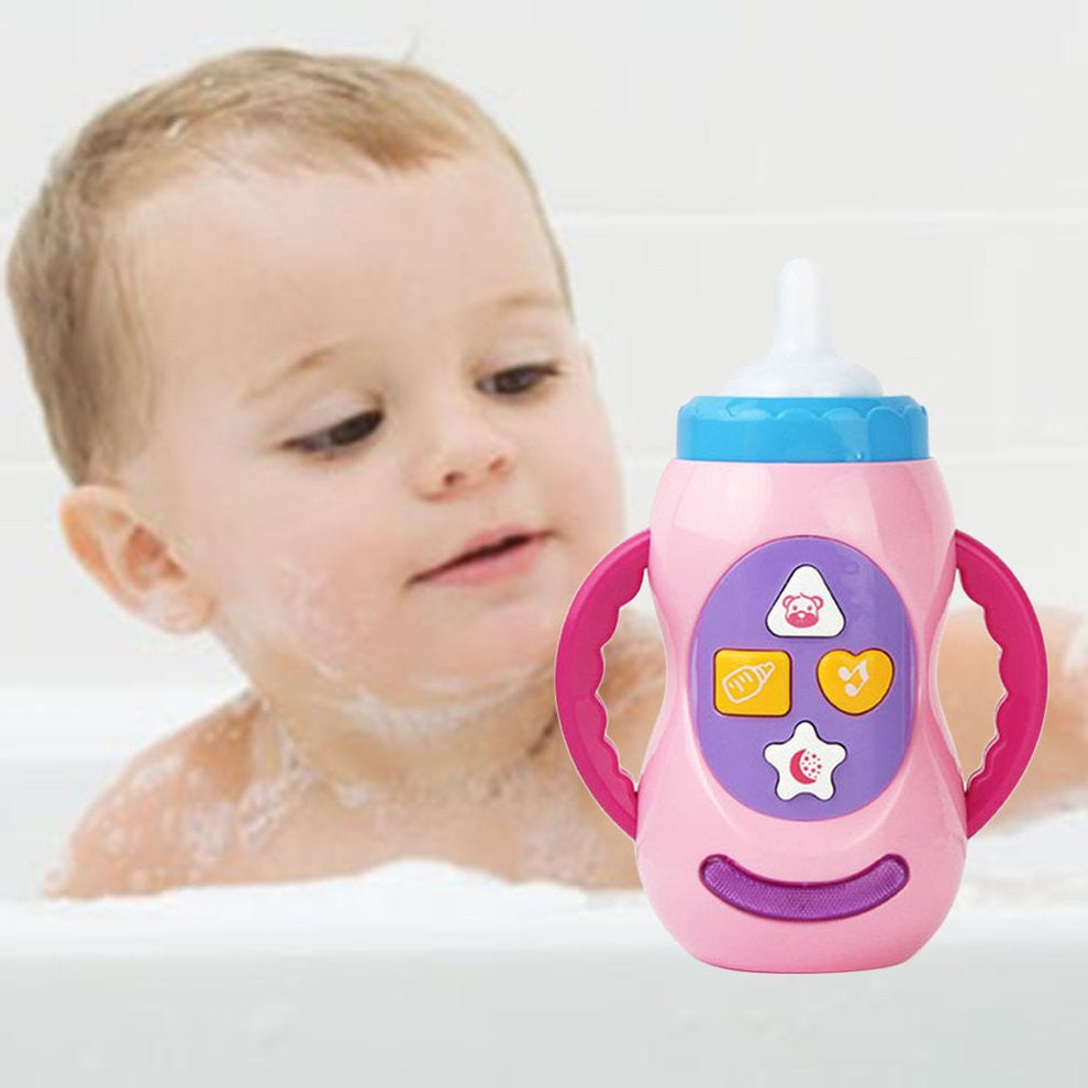 Multicolor Geometric Shape Baby Kids Children Safe Sound Music Light Milk Bottle Learning Musical Feeding Tool Educational Baby Bottle Toys
