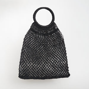 Maison Bengal Macrame Woven Bag in Black