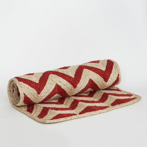 Maison Bengal Woven Chevron Matt in Red