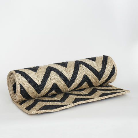 Maison Bengal Woven Chevron Matt in Black