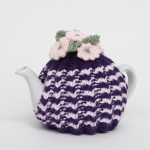 Eileen's Knitted Small Tea Cosy in Purple with 2 cup Teapot