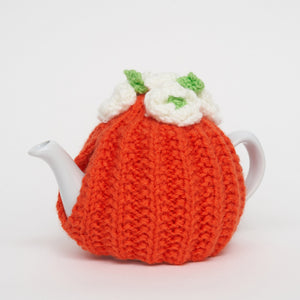 Eileen's Knitted Small Tea Cosy in Orange with 2 cup Teapot