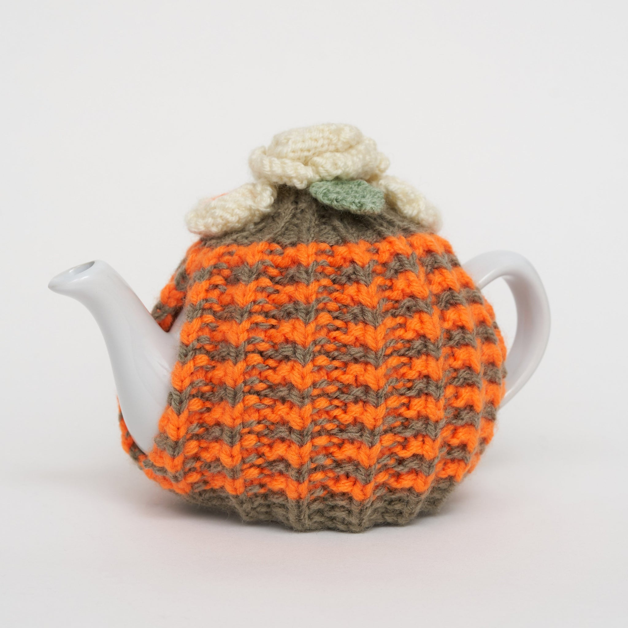 Eileen's Knitted Small Tea Cosy in Orange and Green Stripe with 2 cup Teapot