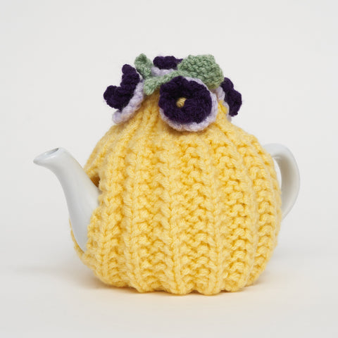 Eileen's Knitted Small Tea Cosy in Yellow with 2 cup Teapot