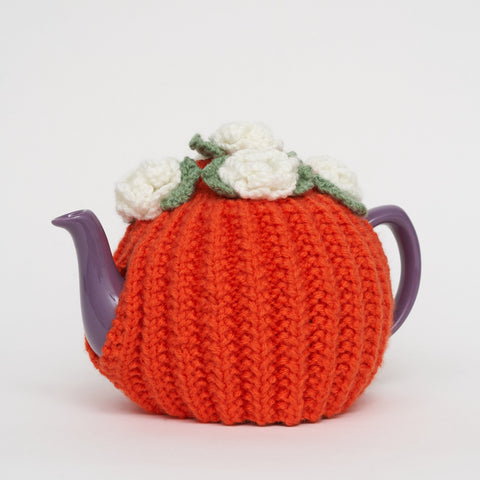 Eileen's Knitted Medium Tea Cosy in Orange
