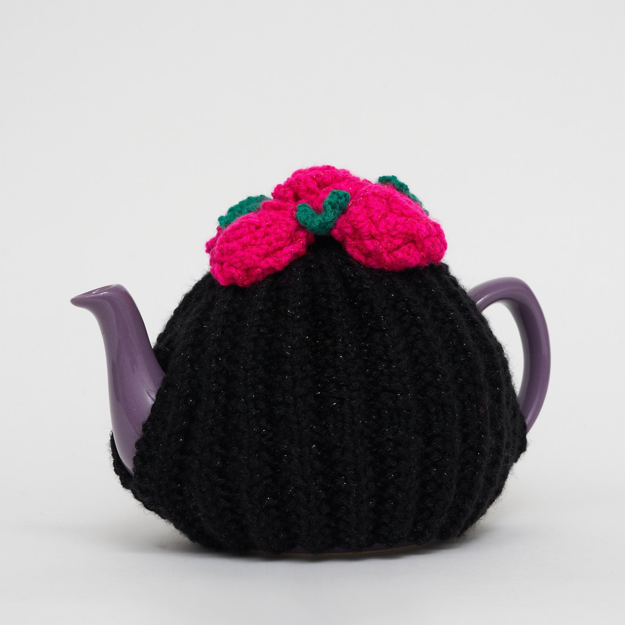 Eileen's Knitted Medium Tea Cosy in Black Glittery