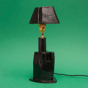 Grace Cobb Black Ceramic Lamp with Triangluar Shade
