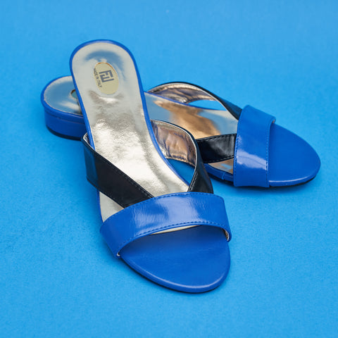 Jazzy Slides in Blue and Black - A BAG FULL OF KIM - Kim Sion