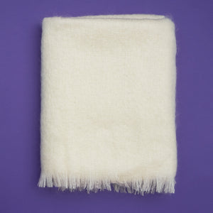Extra Fluffy Mohair Blanket in Cream