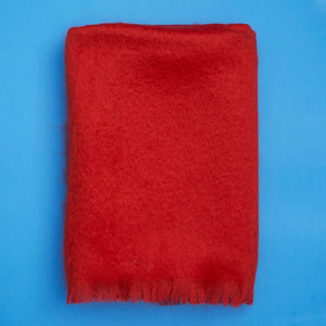 Extra Fluffy Mohair Blanket in Red