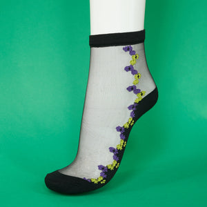 Sassy Socks with Purple Flowers - A BAG FULL OF KIM - Kim Sion