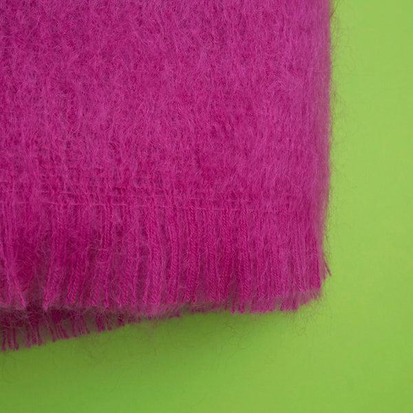 Extra Fluffy Mohair Blanket in Pink
