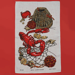 Linen Tea Towel - Lobster with Lobster Pot - A BAG FULL OF KIM - Kim Sion