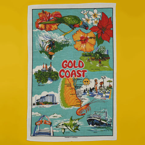 Linen Tea Towel - Australian Gold Coast - A BAG FULL OF KIM - Kim Sion
