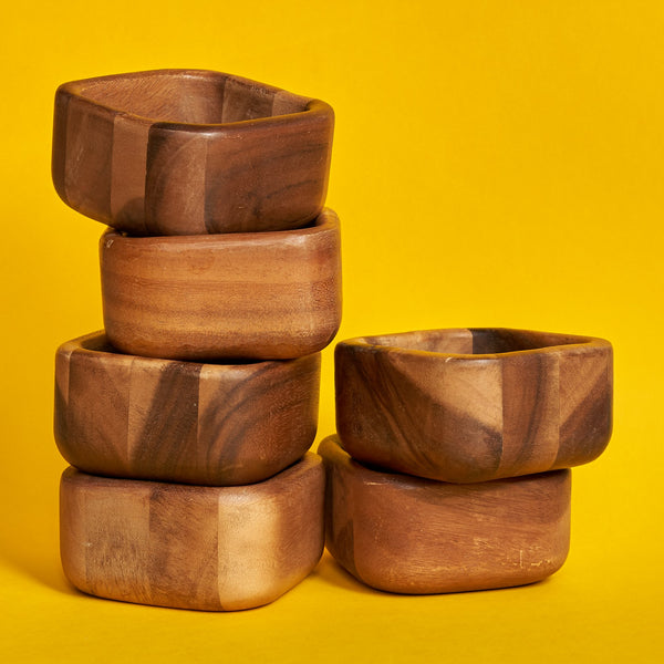 70's Wooden  Bowls - Set of 6 - A BAG FULL OF KIM - Kim Sion