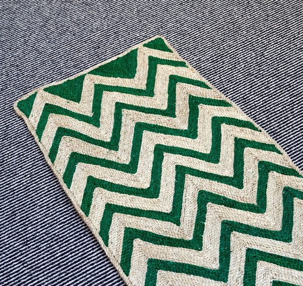 Maison Bengal Woven Chevron Matt in Green - A BAG FULL OF KIM - Kim Sion