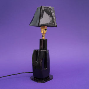 Grace Cobb Black Ceramic Lamp with Four Sided Shade