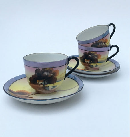 Japanese Tea Cups and Saucers for Three