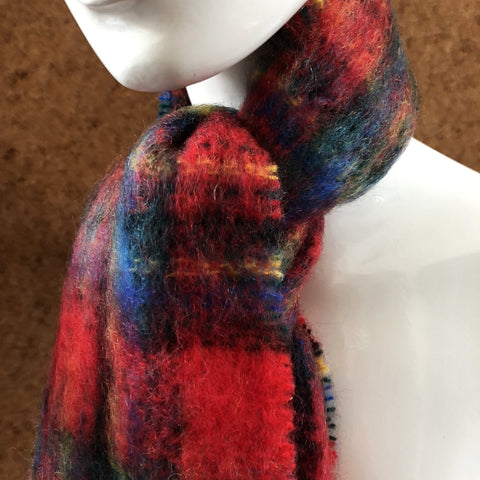 Mohair Scarf in Red Check - A BAG FULL OF KIM - Kim Sion