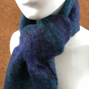 Mohair Scarf in Blue Check - A BAG FULL OF KIM - Kim Sion