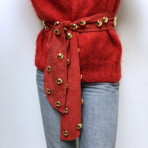 Selfish Maids Vintage YSL Studded Suede Belt - A BAG FULL OF KIM - Kim Sion
