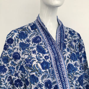An Indian Summer Dressing Gown in Indigo and White - A BAG FULL OF KIM - Kim Sion