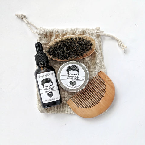 natural beard oil balm boar hair brush wooden comb and storage bag