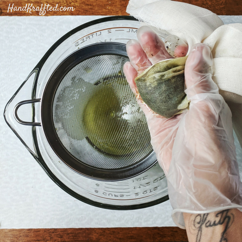straining herb infused oil
