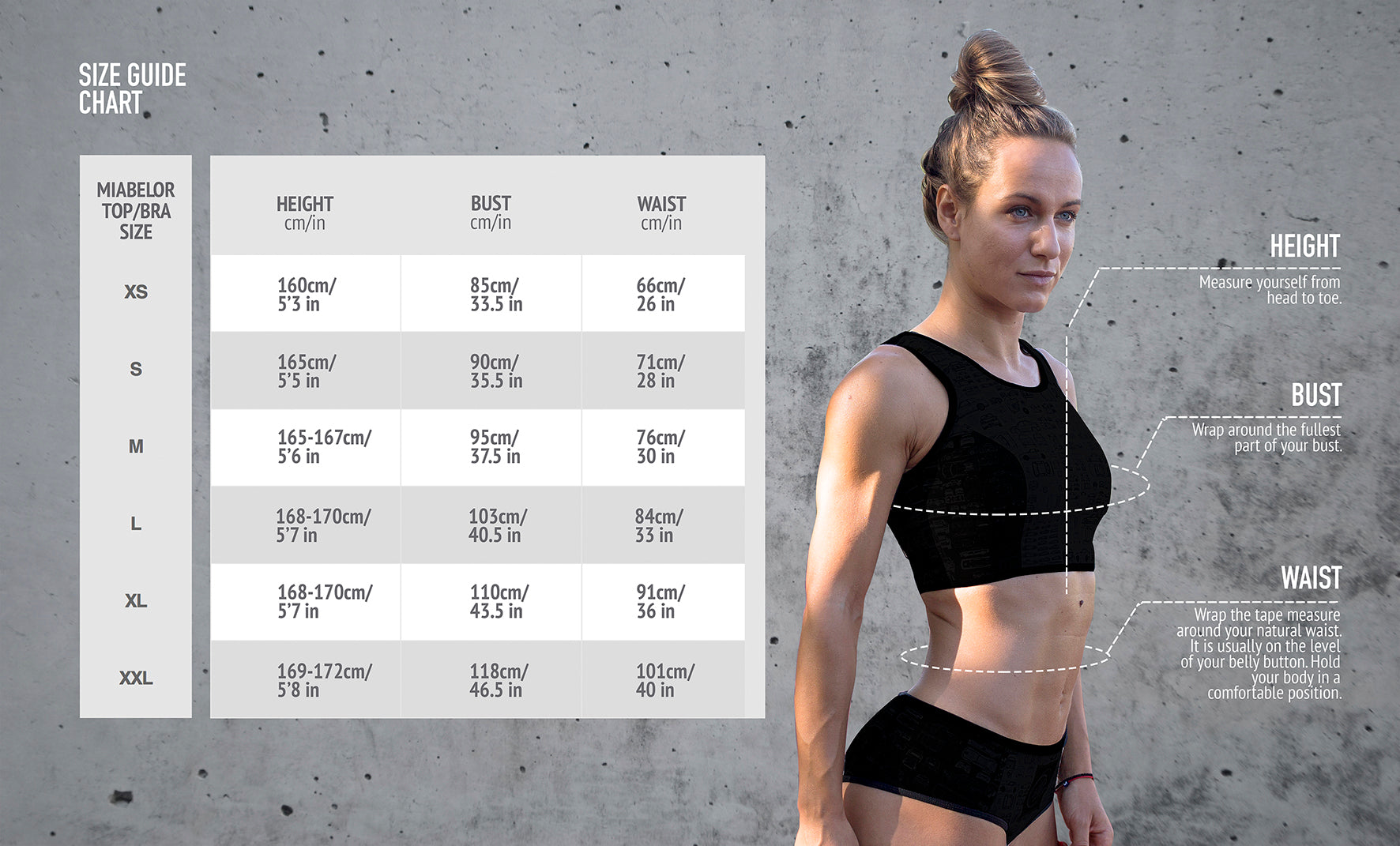miabelor size chart, fitment guide table, sports bra, top , hoodie sizing