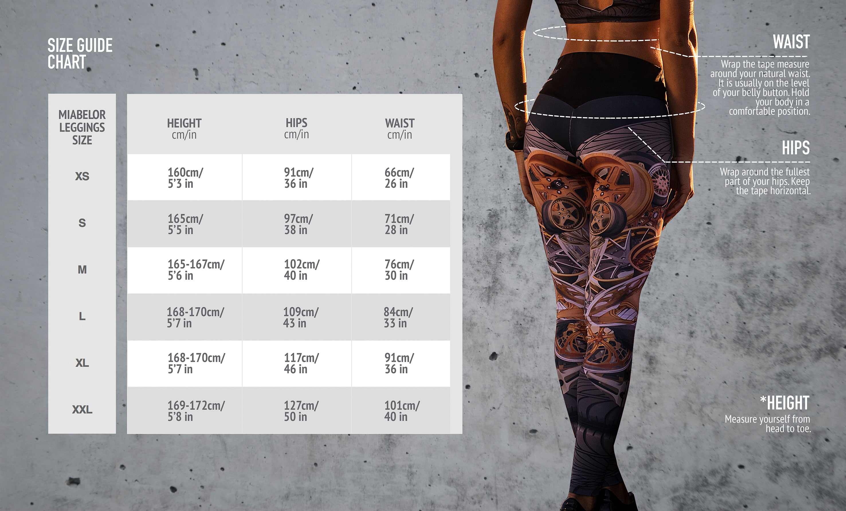 leggings size chart, miabelor size guide for yoga pants