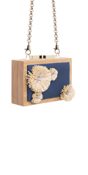 CLUTCH Raffia flowers embroidery with precious stones