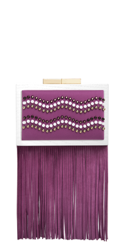 CLUTCH Precious studs embroidery on purple cotton
