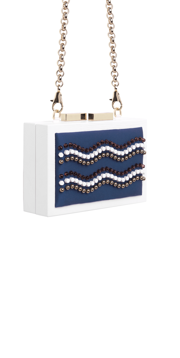 CLUTCH Precious studs embroidery on blue cotton