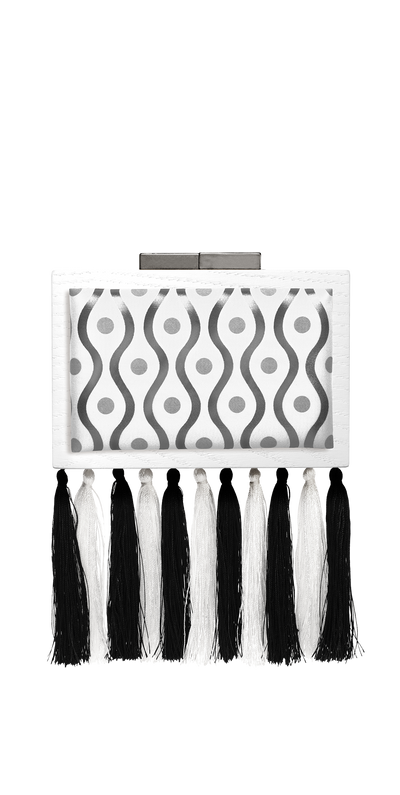 CLUTCH Silver pattern printed on white cotton