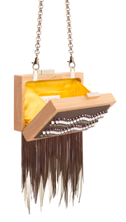 CLUTCH Double fringe made of laminate leather and suede