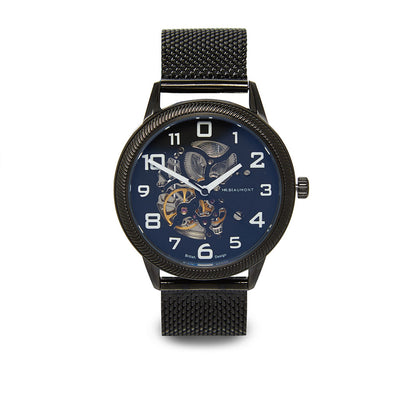 Mr. Beaumont automatic men's skeleton watch with a black mesh band