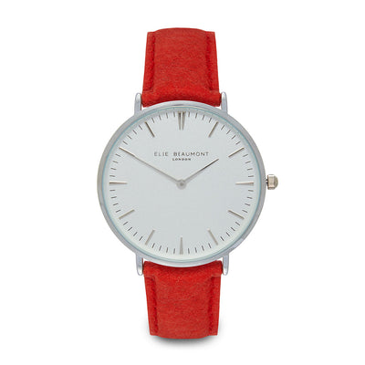 Vegan Oxford Large White Dial/Red