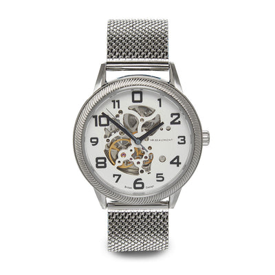 Mr. Beaumont automatic men's skeleton watch with a silver mesh strap