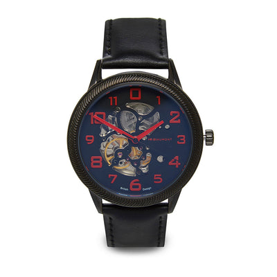 Mr Beaumont Automatic Skeleton Watch Black Case/Black Leather Strap