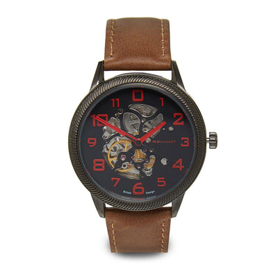 Mr Beaumont Automatic Skeleton Watch Gun Case/Brown Strap
